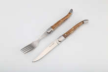 Laguiole Decorate Bee color wood handle meat knife and fork Laguiole steak knife and fork wooden handle