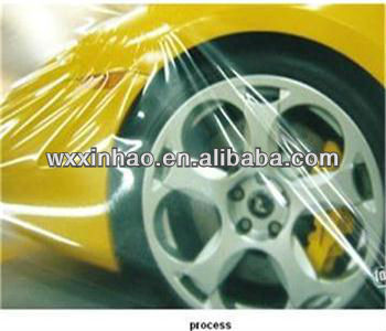 Transparent car paint protection plastic film