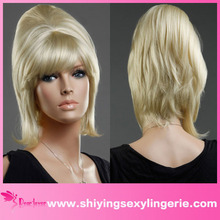 Fashion Western Style Golden Fluffy Curly Ladies Short Wig India Hair Wig Price