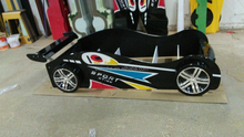 E1 mdf racing car bed with led light and drawer