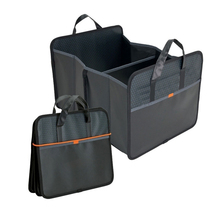Collapsible trunk cargo organizer, folding auto car flat carry storage organizer, rear backseat container travel bag pouch set