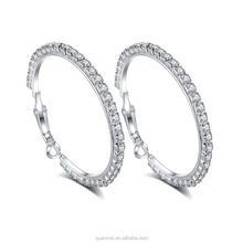 Maverick Wholesale 12 Pairs Chic Shiny Stunning Big Round Hoop Clip Earrings With Crystal For Women and Girls