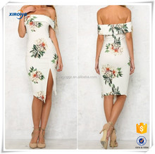 2016 High quality Wholesale latest party floral printed wear off shoulder wear dresses for women