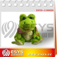Battery operated singing and dancing stuffed plush toy break dancer frog
