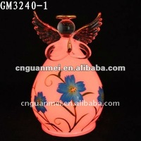 decorative glass angel with led light