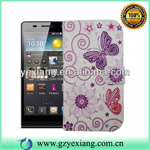 Girl Design Cell Phone Decoration Flip Wallet Case For Huawei Ascend P6