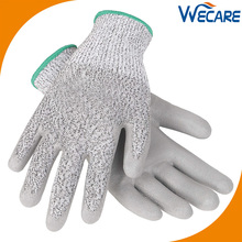 ANSI 4 Good Grip Glass Working Palm Protection Handling Polyurethane Coated Anti Cut Gloves