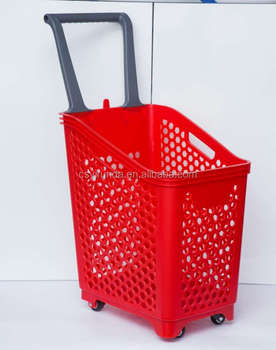 2017 new material 2 wheels plastic shopping basket for supermarket store