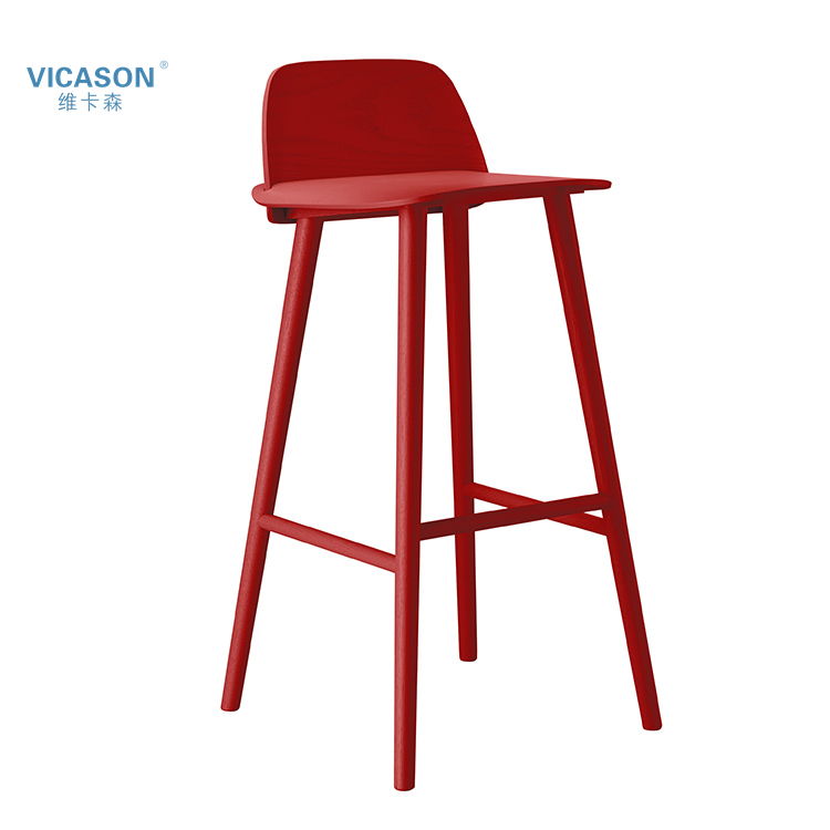 2017 Fashion style red wooden furniture chair kitchen counter height bar stools with backs