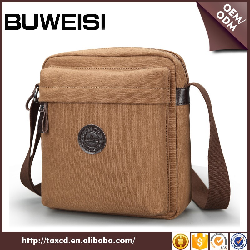 Wholesale BUWEISI casual style cheap canvas messenger bags for men