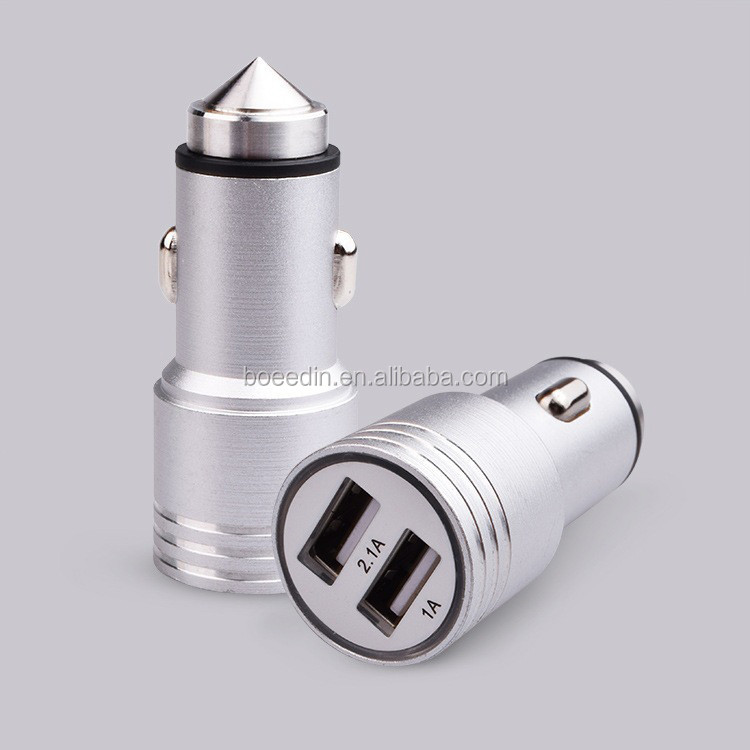 Mobile Phone Aluminium Alloy Car Power Charger 2 USB Ports 5V 2.1A