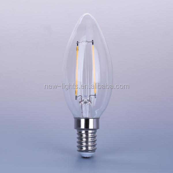 New Lights Candle Bulb Transparent Cover 2W E14 C35 LED Filament bulb