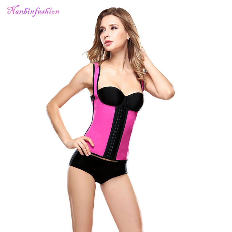 Red women leather hooks slimming steel boned waist trainer vest corsets