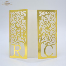 handmade custom names wedding invitation gold greeting <strong>card</strong>