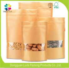 pe coated dried fruit and food packaging kraft paper bag with window and zipper