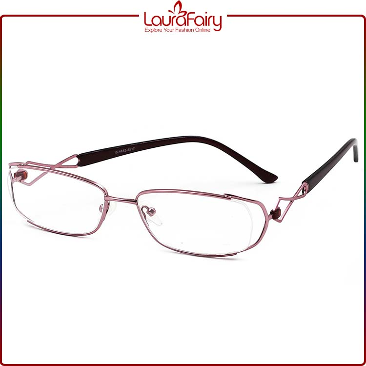 Laura Fairy 2016 Latest Pink Metal Frame Acetate Optical Eyeglass Frames For Women