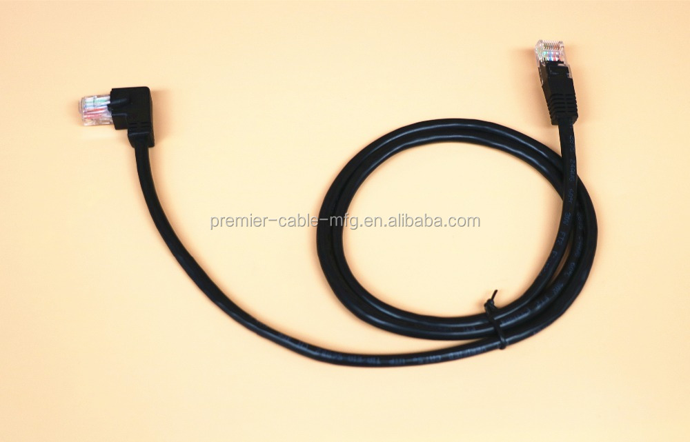 Angle CAT6 Ethernet Patch Cable(3.3 Feet) Right Angled Lan Cable with Gold Plated Contact Black Color