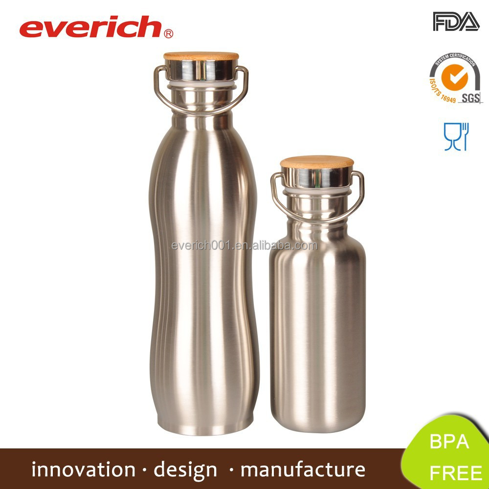 750ml Stainless Steel Camping Water Bottle For Sports Drinking With Bamboo Lid