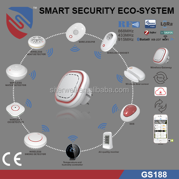 Hot point CE approved Wireless Smarthome Security System with RF,Z-Wave,ZigBee,Bluetooth,Wifi,Sigfox, LoRa moduel Gateway GS 188