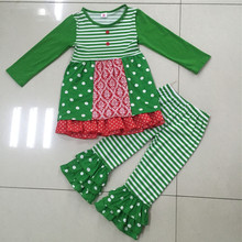 Toddler and girls green ruffle little girls boutique remake clothing sets