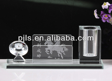 Desk and Table Clocks crystal clock,crystal pen holder with customized logo