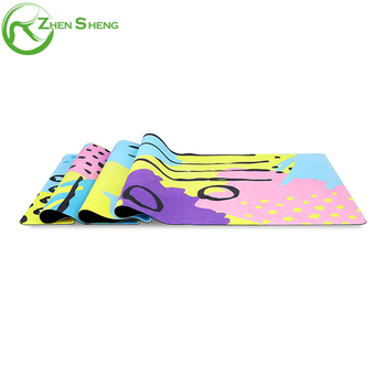 Zhensheng Custom Eco-friendly Full Color Printed Suede Rubber Yoga Mat