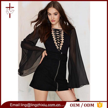 Wholesale Lace-up V-Neck Women Bodysuit with Sheer Chiffon Bell Sleeves