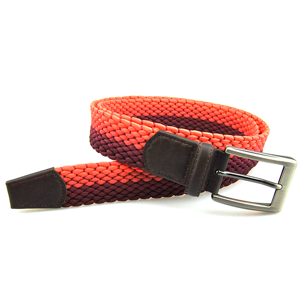 Western trendy men's elastic stretch braided leather belt , woven belt leather man