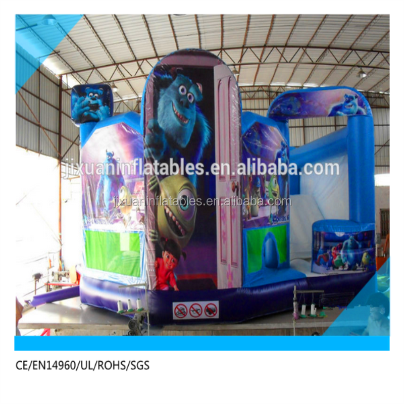 5 in 1 inflatable combo bouncy castle for sale with monster art panel