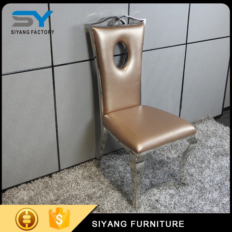 Modern furniture french leather stainless steel dining chair CY001