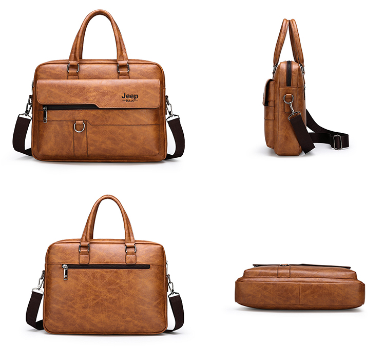 Vintage Business Casual Waterproof PU leather Handbag Crossbody Messenger Shoulder Men Briefcase Laptop bag