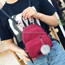 Cute Corduroy Mini Backpacks With Pom Poms Girls Backpack School Bags backpack wholesales 2017