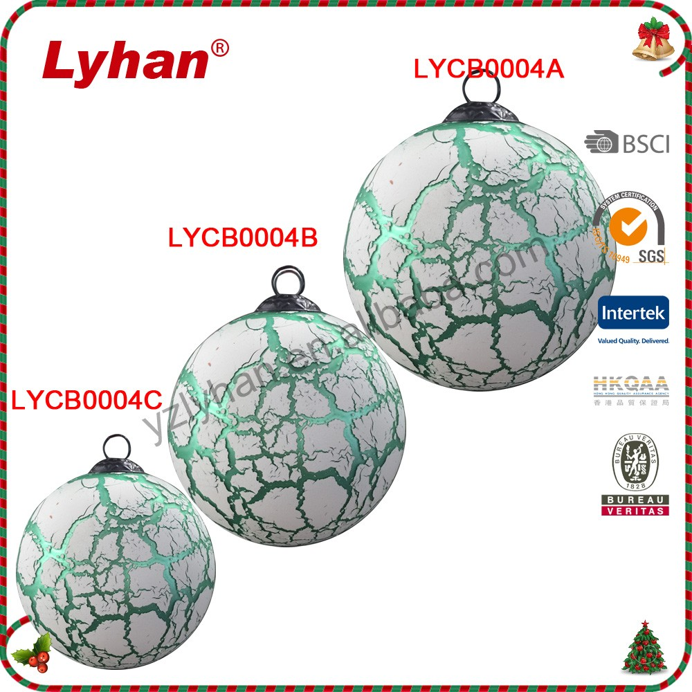 light green marbling glass ball with bronze cap for Christmas tree decoration