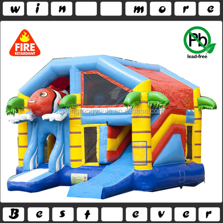 mini fun game kids play house inflatable combo, used inflatable jumper with slide combo for sale