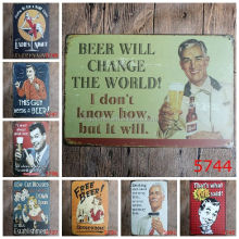 Wholesale Beer Alcohol Nostalgic Vintage Wall Art Painting Plaque Poster Car Garage Home Decor Metal Tin Signs