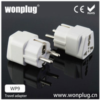 EU 2 round pin to 3 pin adapter plug with shutter ,round push pin ,2 pin round pin european plug