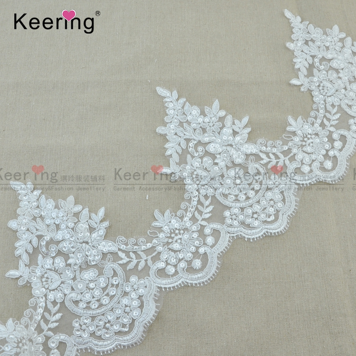 Polyester bridal lace trim with cross and sequins wholesale WTPA-038