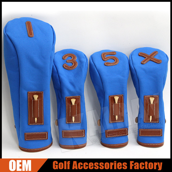 Custom Canvas Golf Club Headcover Set with Golf Tee Holder For Driver Fairway Hybrid