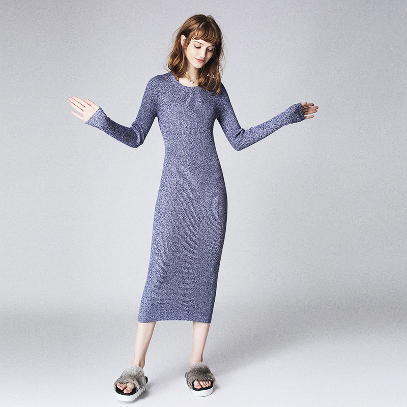 Fashion Long Sleeve Hot Style Lady Dress Slim Knitting Woman Dress