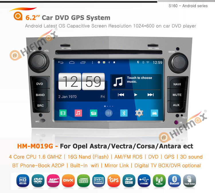 HIFIMAX Android 4.4.4 car dvd player opel vectra car gps navigation system for opel vectra A/vectra B/vectra C radio (grey)