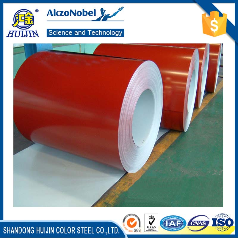 Huijin zn80g/m2 color zinc coating ppgi steel roof sheet in coil