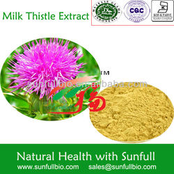 Pharmaceutical ingredient Silymarin/Milk Thistle Extract products 80% 30%HPLC by China supplier