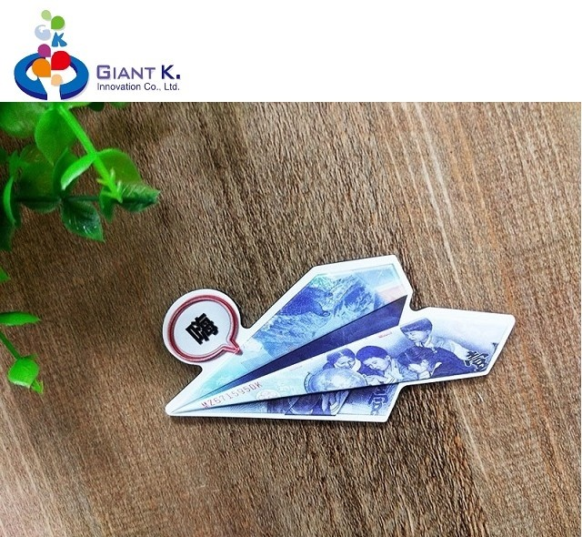 Promotional customized paper plane rubber embossed fridge magnet