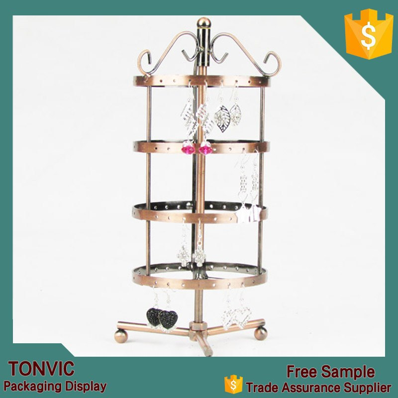 4 Tiers Rotating 54 pairs Earring Holder Jewelry Stand Display Rack Towers (Copper)
