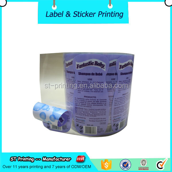 full color vinyl label daily bath products shampoo bottle label,waterproof double sided printing label sticker