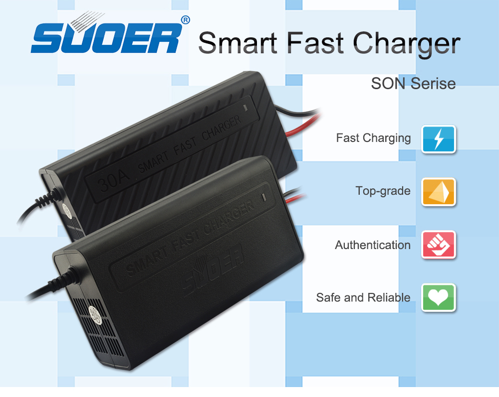 Suoer 12V 3A smart fast charging universal lead acid battery auto solar car charger