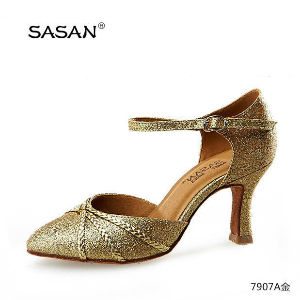 Lady Gold Glitter Ballroom Shoes Wedding Shoes Suede Outsole