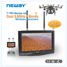 "NEWAY 7"" FPV Monitor FATSHARK 5.8G Wireless battery power fpv monitor For Helicopter"