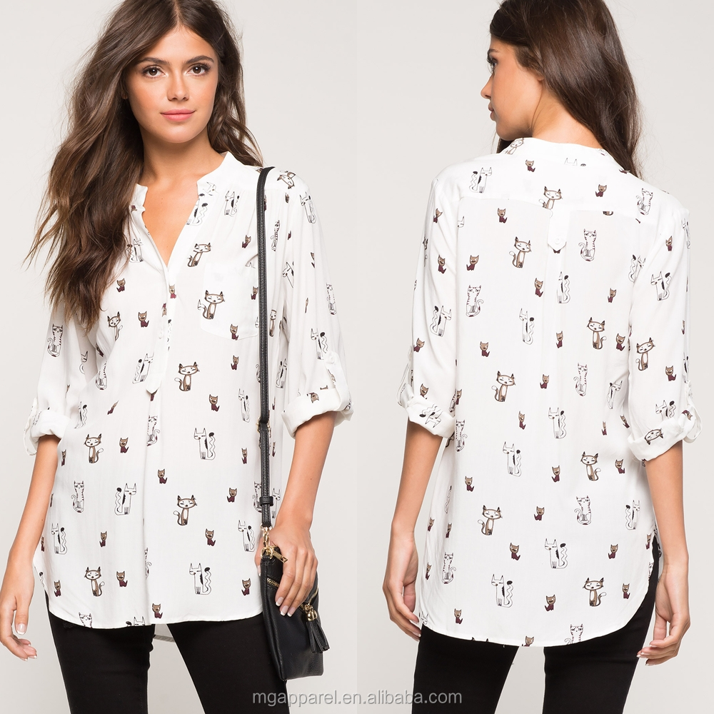 Fashion 3/4 sleeves woven fabric cat printed shirt for women