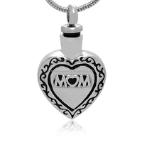 Hot Sell Funeral Casket Jewelry Wholesales 316L Stainless Steel Enamel Gracious Mom Always In My Heart Cremation Urn Pendant